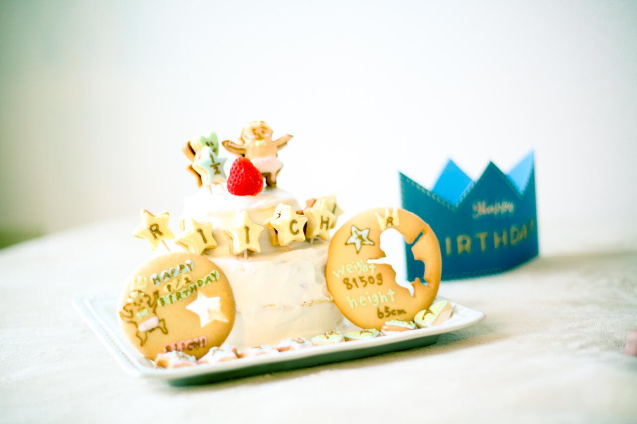 ハーフバースデーの飾り付け(アイシングクッキーと王冠)